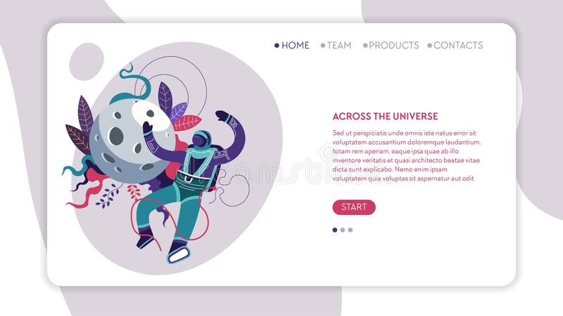 Across universe online web page template spaceman or astronaut royalty free illustration
