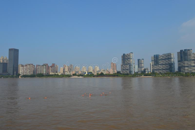 Across the Yangtze River. Wuhan hosts a cross-Yangtze River activity and athletes are conducting exercises stock image
