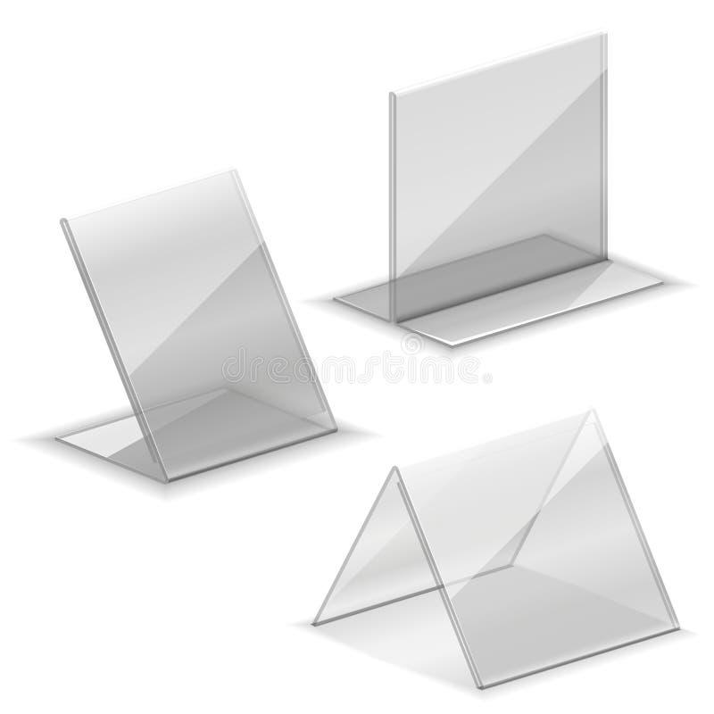 Acryl vector lege plastic houder voor adreskaartje vector illustratie