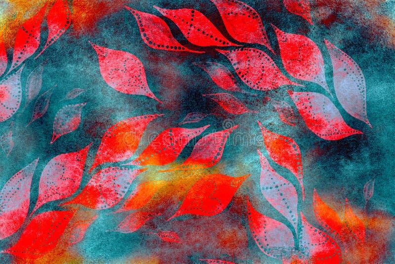 Acrylblumenkunstschmutz-Batikhintergrund Stylization von Pastellfarben, Aquarell Weinlese maserte Muster mit Rot, Orange gehen vektor abbildung