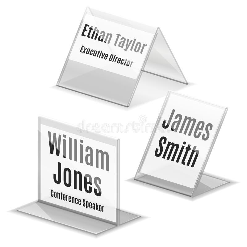 Acrylde plaathouder van de adreskaartjenaam op wit vector illustratie