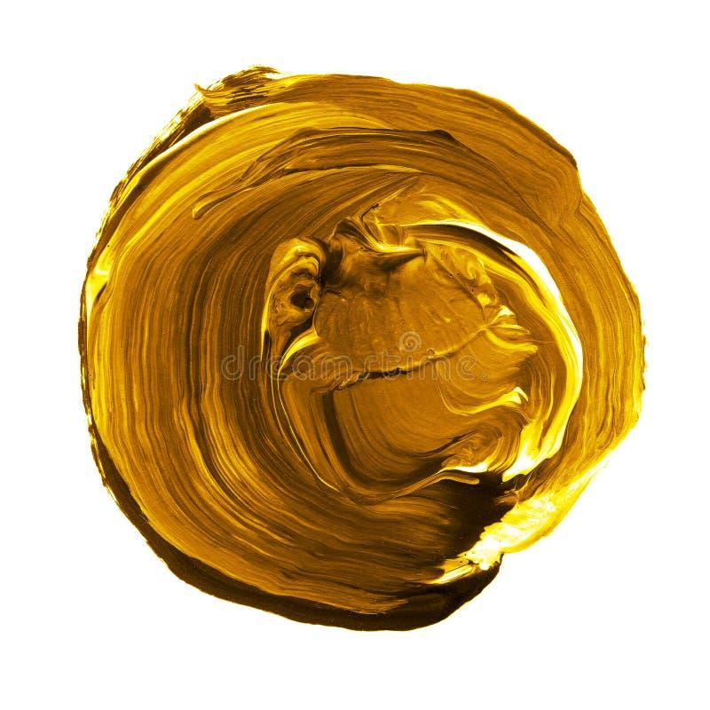 Acryldiecirkel op witte achtergrond wordt geïsoleerd Gele, gouden ronde waterverfvorm voor tekst Element voor verschillend ontwer royalty-vrije stock foto