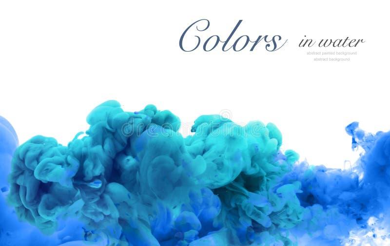 Acrylfarben und Tinte im Wasser Entziehen Sie Feldhintergrund Isolator stockfoto