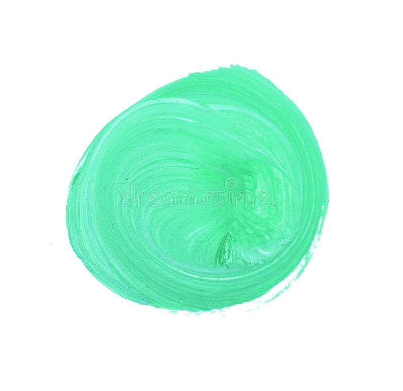 Futuristic abstraction on a white background. Acrylic pattern in the form of a circle of green color. royalty free stock images