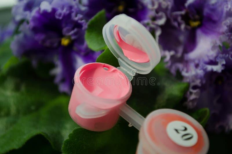 acrylic Acr?lico rosado Pintura rosada Paleta de colores Pintura para dibujar Rosa abierto de la pintura Un tarro de pintura Tarr imágenes de archivo libres de regalías