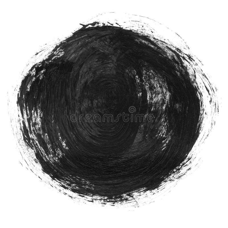 Acrylic circle isolated on white background. Gray, black round watercolor shape for text. Element for different design stock image
