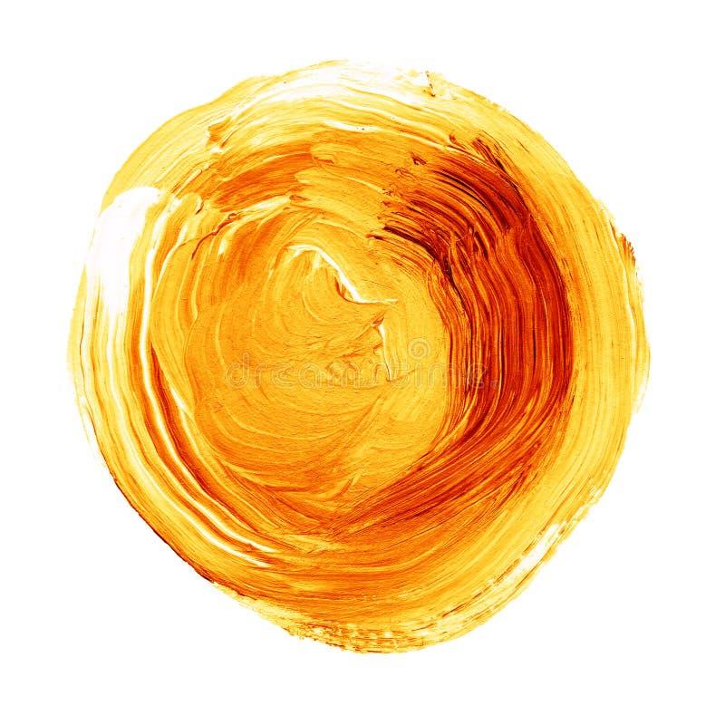 Acrylic circle isolated on white background. Yellow, orange round watercolor shape for text. Element for different design. Acrylic circle isolated on white stock image