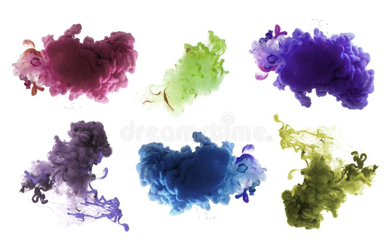 Acrylic colors and ink in water. Abstract background. royalty free stock photography