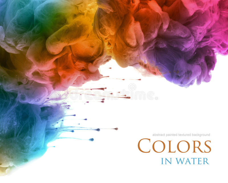 Acrylic colors and ink in water. Abstract background. stock photos