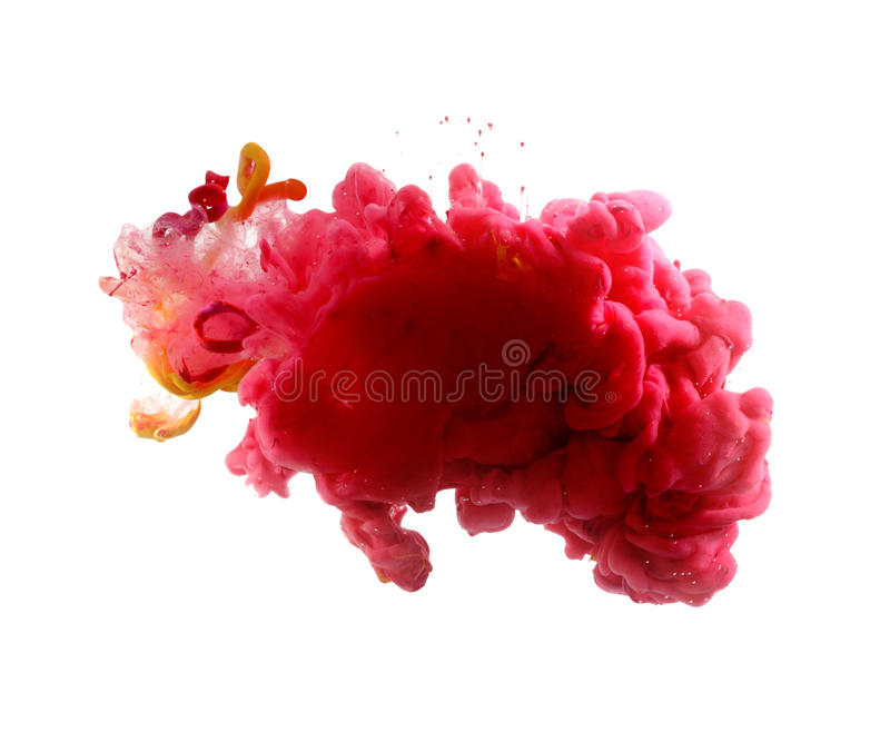 Acrylic colors and ink in water. Abstract background. Red blot royalty free stock image