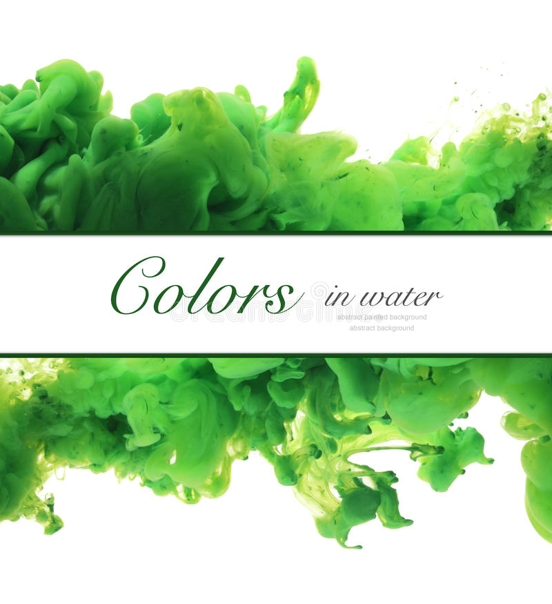 Acrylic colors and ink in water. Abstract frame background. Isolated. royalty free stock photo