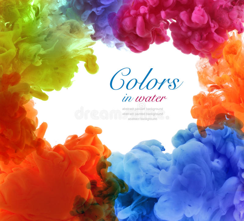 Acrylic colors in water. Abstract background. royalty free stock image