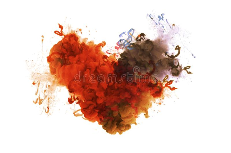 Acrylic colors in water. Ink blot. Abstract background. Acrylic colors in water. Abstract background. Isolation. Broken heart concept. Ink blot royalty free stock images