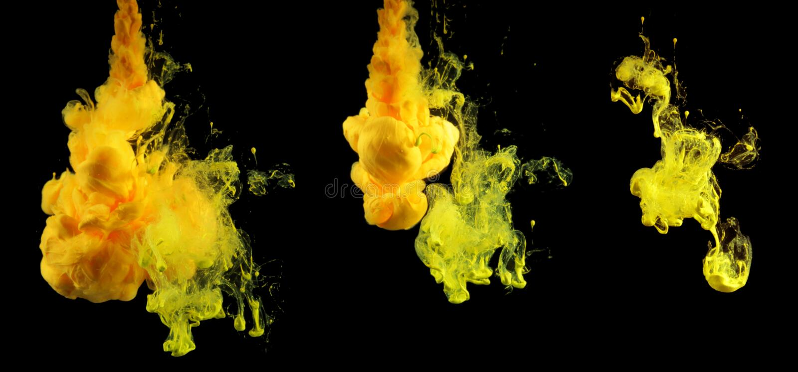 Acrylic colors in water. Ink blot. Abstract background. Collection on black.  stock photos