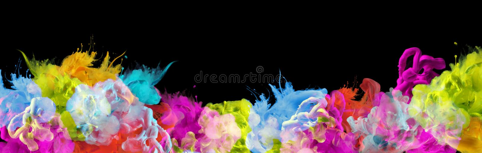 Acrylic colors in water. Ink blot. Abstract black background. Horizontal long banner stock photo