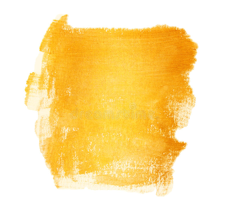 Acrylic Gold Brush Strokes With Texture Paint Stains Isolated