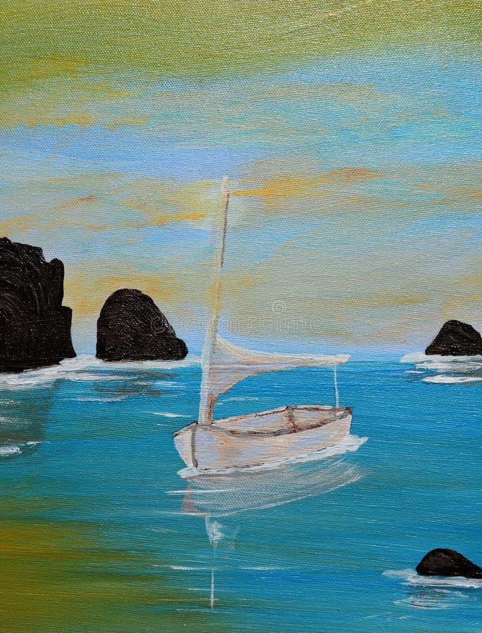 Acrylic Painting Sailboat Royalty Free Stock Photos