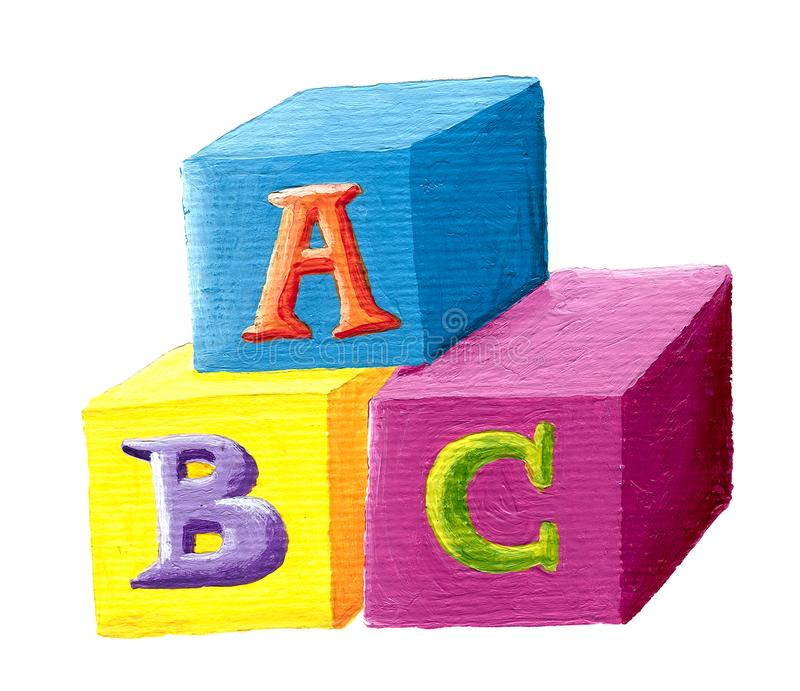 ABC building blocks on white background stock illustration