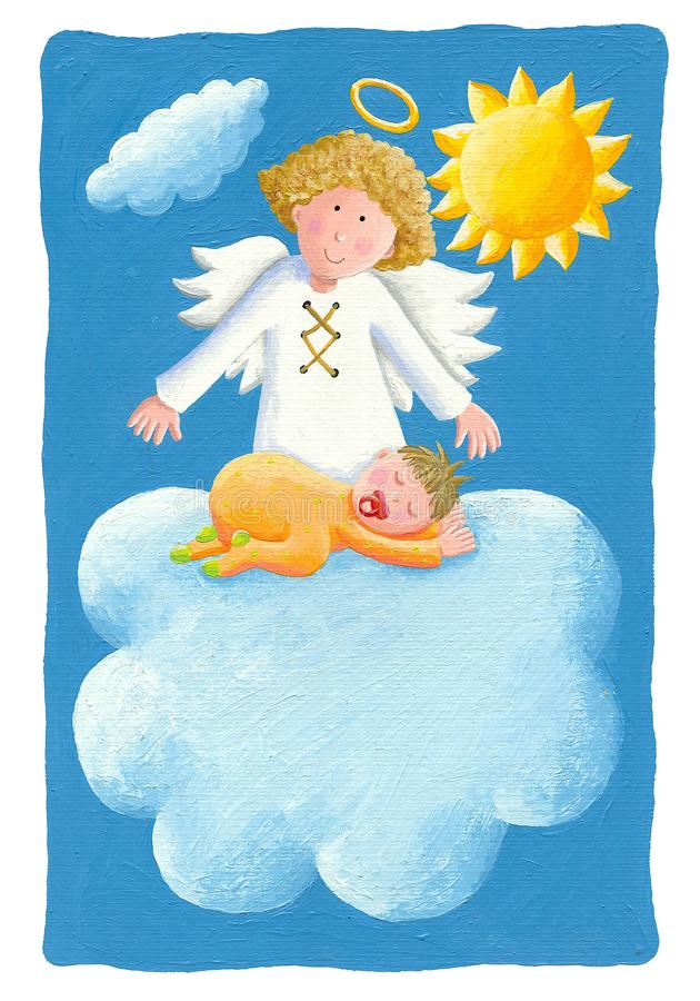 Baby baptism - baby on the cloud with angel. Acrylic illustration - Baby baptism - baby on the cloud with angel stock illustration