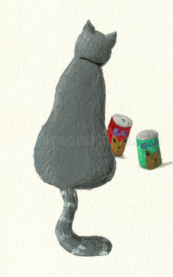 Cat sits back painted on art paper vector illustration