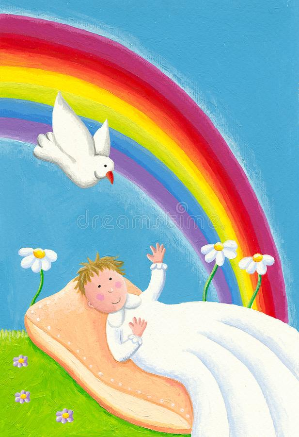 Holy occasion - Baby baptism. Acrylic illustration of a Holy occasion - Baby baptism. Baby, dove and rainbow royalty free illustration
