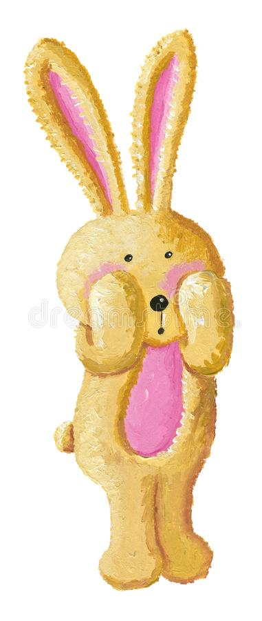 Surprised cute little rabbit. Acrylic illustration of the surprised cute rabbit royalty free illustration