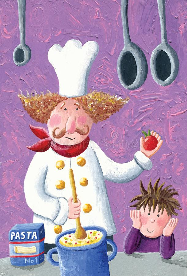 Worried chef prepares pasta in the kitchen - cheerful boy watching him. Acrylic illustration of the worried chef prepares pasta in the kitchen - cheerful boy stock photography