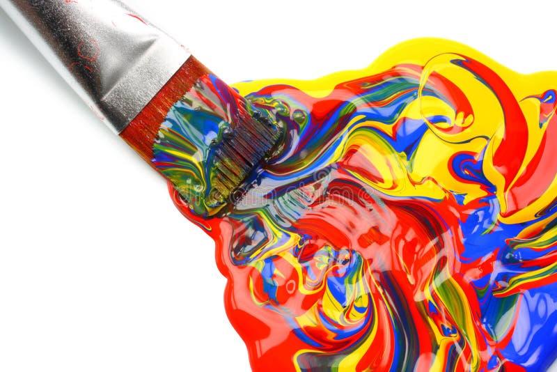 acrylic mieszający farby paintbrush zdjęcie royalty free
