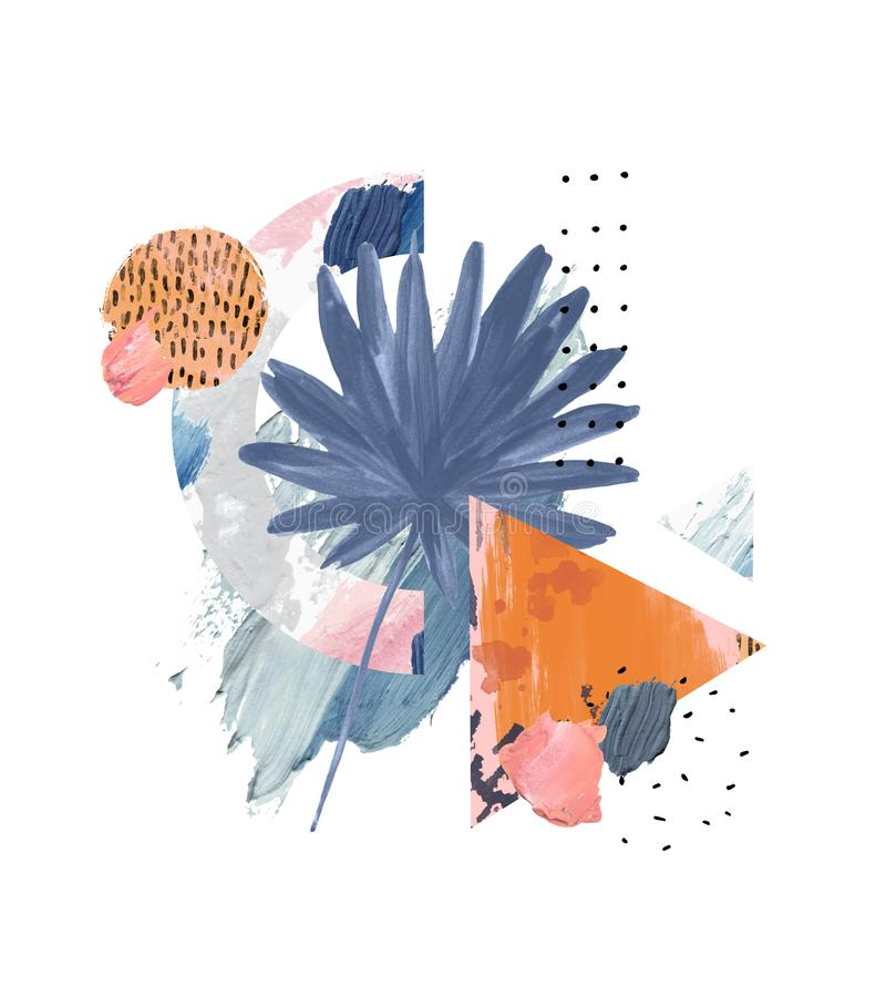 Acrylic, oil paint rough smears, blots, texture, watercolor tropical leaf art. Abstract pastel brushstrokes and palm leaf background. Acrylic, oil paint rough royalty free illustration