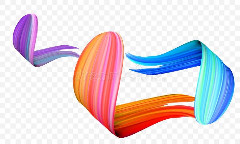Acrylic paint brush stroke. Vector bright orange, velvet or purple and blue gradient 3d paint brush on transparent background vector illustration