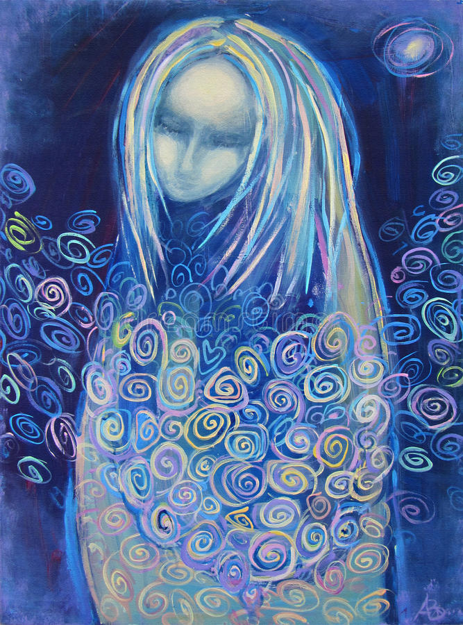 Acrylic painting. Awaiting birth. Mysterious woman. Awaiting birth. Beautiful acrylic painting on canvas of a mysterious woman in blue clothes, surrounded by vector illustration