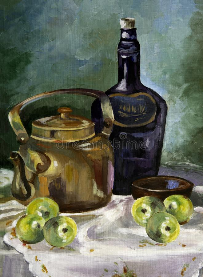 Acrylic painting of breakfast table stock photo