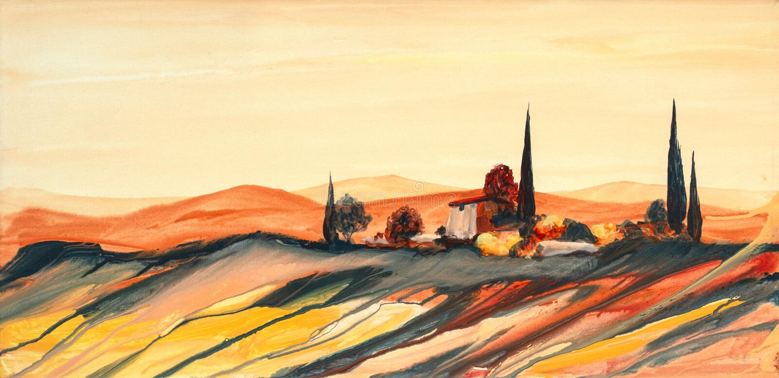 Acrylic painting of a strongly colored colorful Tuscan landscape with house, trees and cypresses with flowing paint, and drops stock illustration