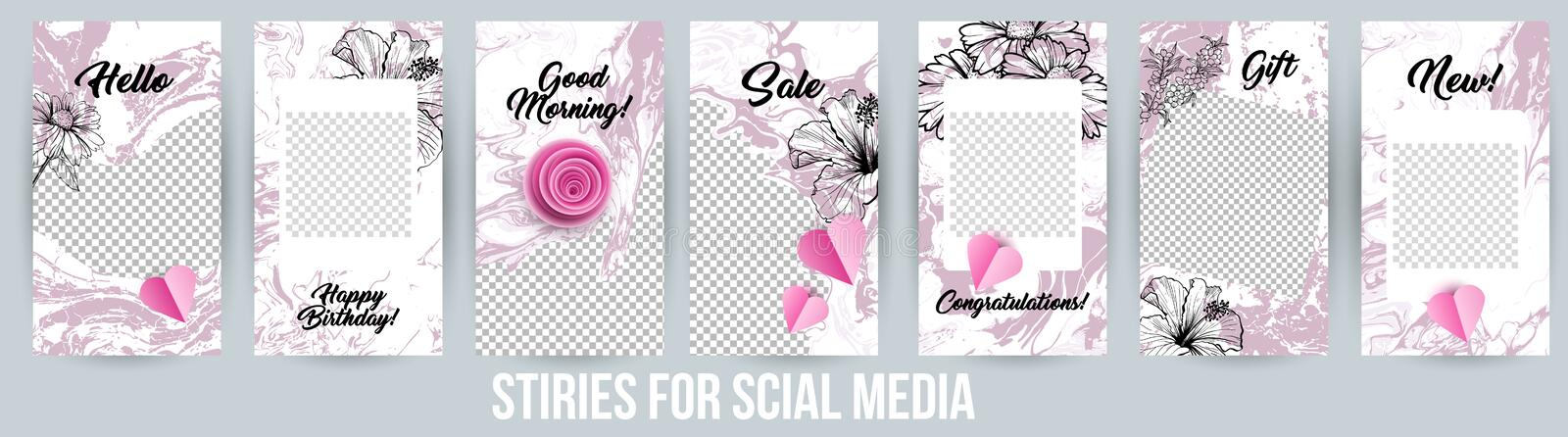 Acrylic Paintings Instagram Stories Creative Modern Photo Frames Pack. stock illustration
