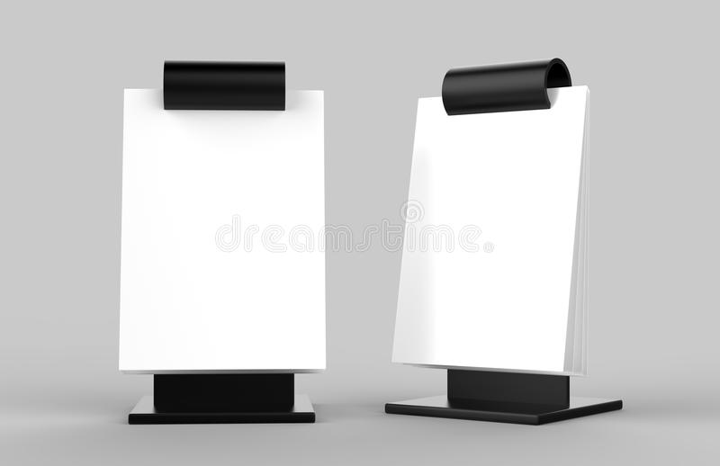Acrylic A5 Size Flip Menu Holder. 3d render illustration. Acrylic A5 Size Flip Menu Holder for mock up design presantation. 3d render illustration royalty free illustration