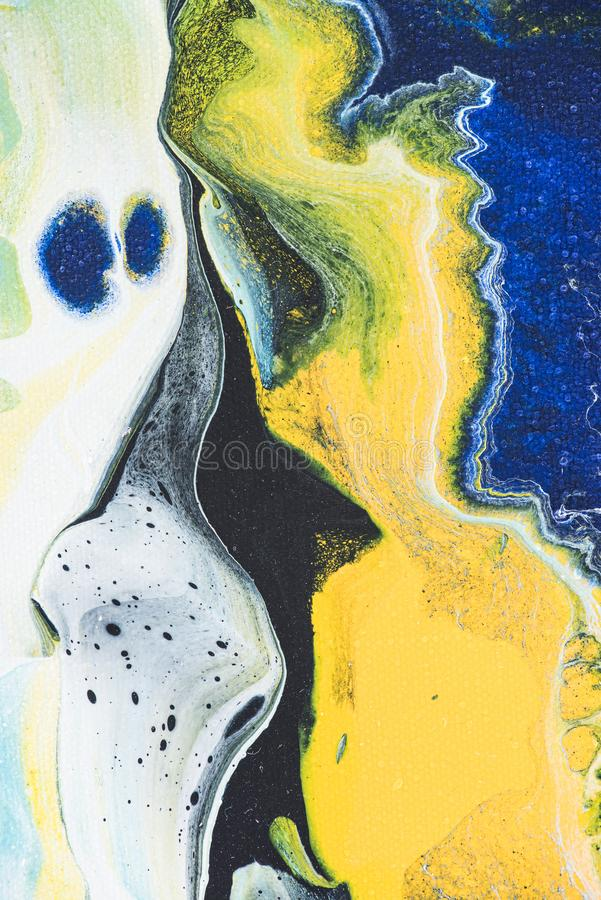 acrylic texture colored with yellow and blue paint royalty free stock images