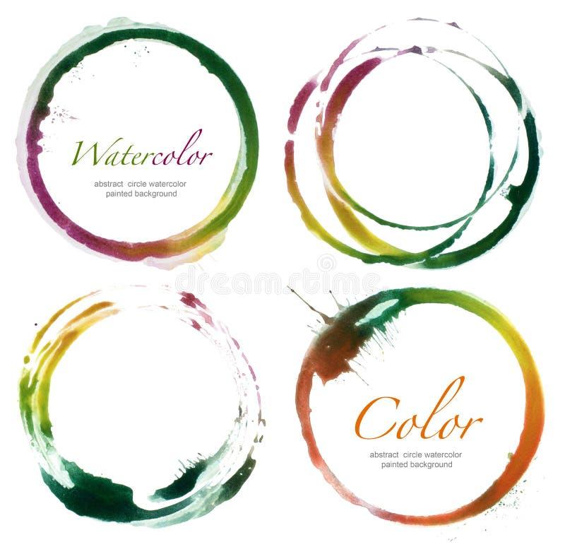Acrylique de cercle et éléments de conception peints par aquarelle illustration de vecteur