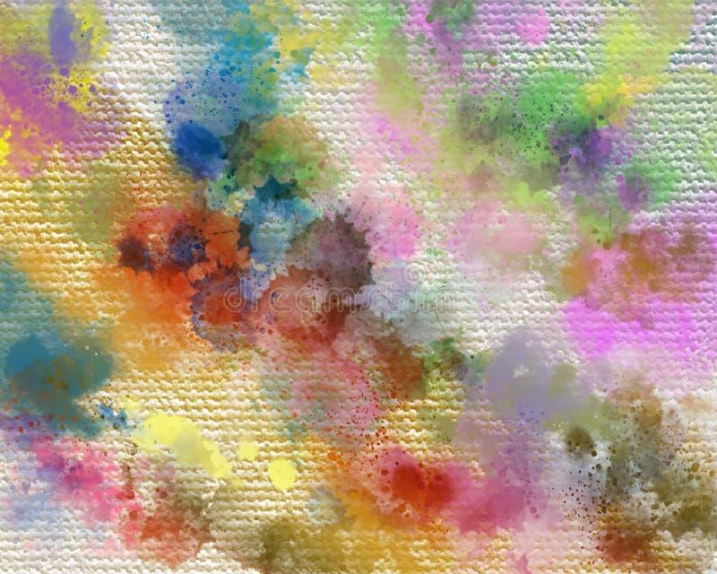 Acrylique sec peint la tache Fond peint à la main abstrait créatif Courses de peinture acryliques sur la toile Art moderne illustration libre de droits