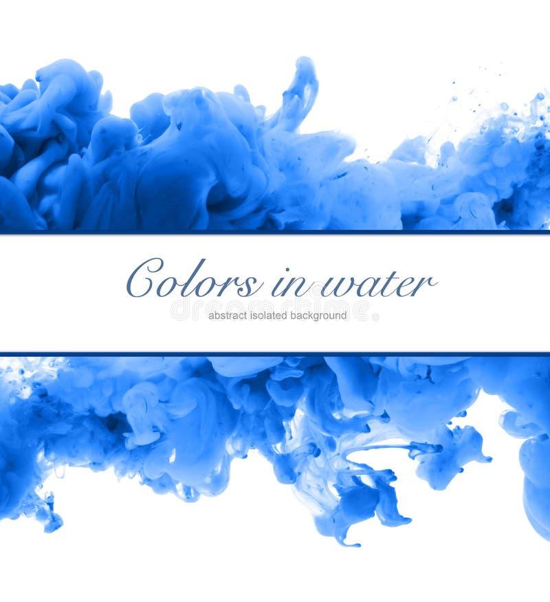 Acrylkleuren en inkt in water Abstracte frame achtergrond Isol stock foto