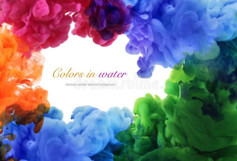 Acrylkleuren in water abstracte achtergrond stock fotografie