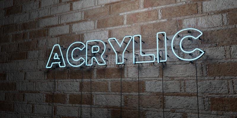 ACRYLSAUER - Glühende Leuchtreklame auf Steinmetzarbeitwand - 3D übertrug freie Illustration der Abgabe auf Lager stock abbildung