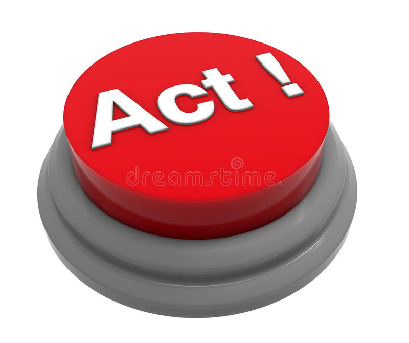 Act button concept. High resolution render of a 3D button with the word Act on it. The composition is isolated on a white background with no shadows vector illustration