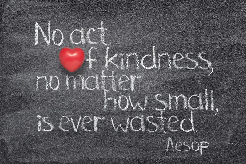 Act kindness Aesop. No act of kindness, no matter how small, is ever wasted - quote of ancient  Greek story teller Aesop written on chalkboard with red heart stock photography