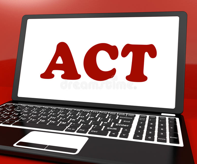 Download Act On Laptop Shows Motivate Inspire Or Performing Stock Illustration - Image: 34214593