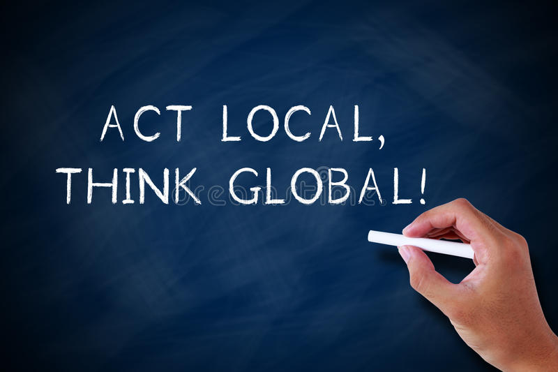 Act Local And Think Global. Concept drawn by white chalk on blackboard royalty free stock image