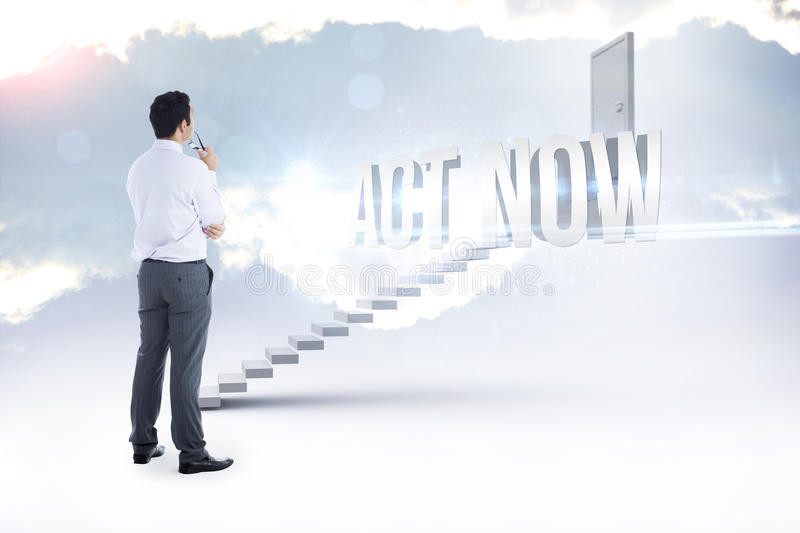 Act now against white steps leading to closed door. The word act now and businessman holding glasses against white steps leading to closed door royalty free stock photography