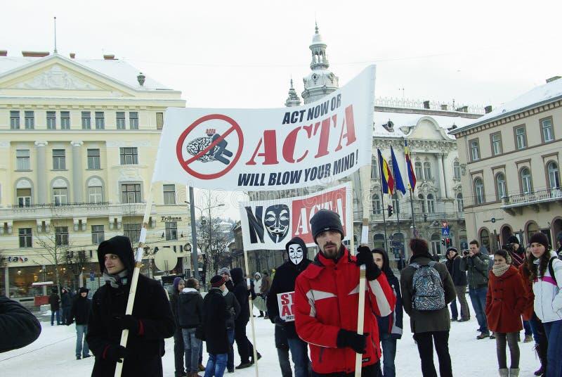 ACTA anti Rumania imágenes de archivo libres de regalías