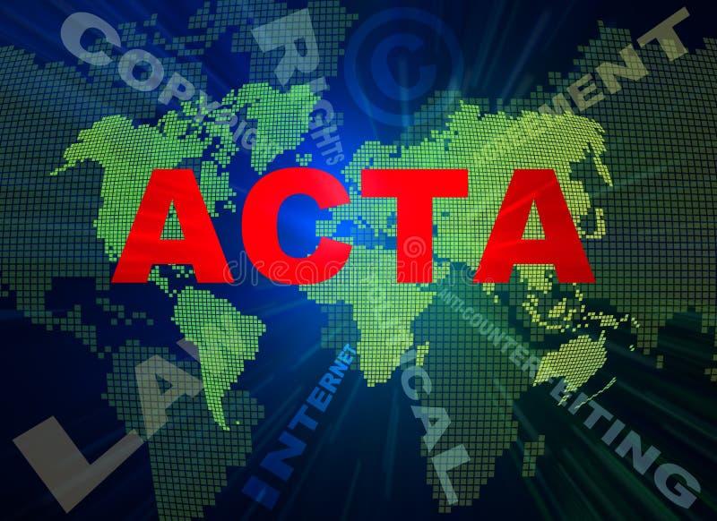 ACTA-Auffassungtexte und Weltkarte vektor abbildung