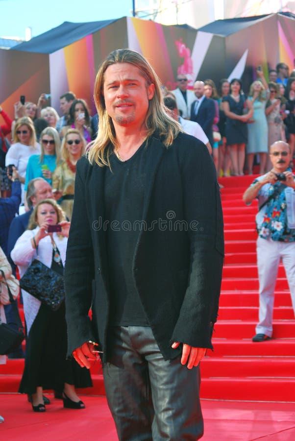 Acteur Brad Pitt au festival de film de Moscou photos libres de droits