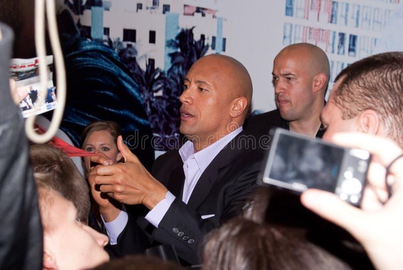 Acteur Dwayne (de Rots) Johnson In Moskou Redactionele Fotografie